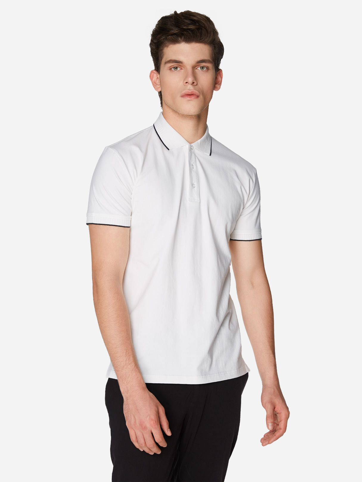 White Pure Color Three Button Short Sleeve Men's Polo Shirt white with wine red line button design short sleeve men s polo shirt