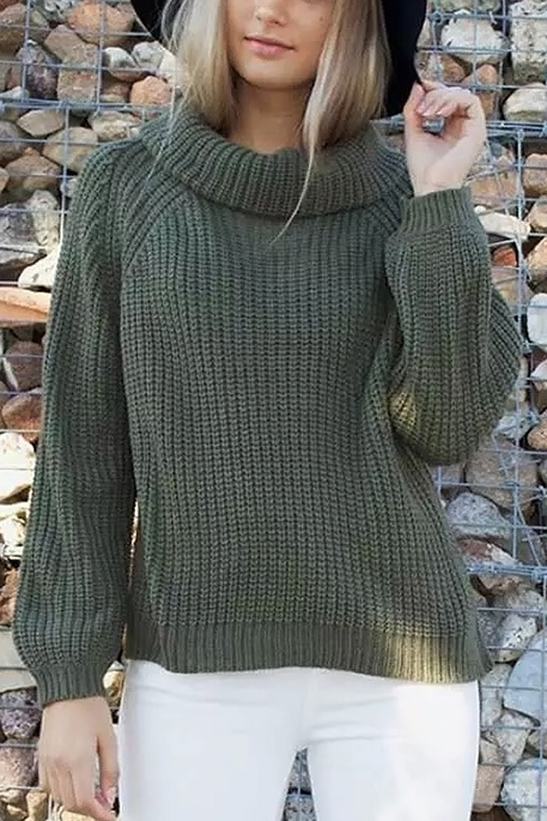 Side Split High Neck Jumper
