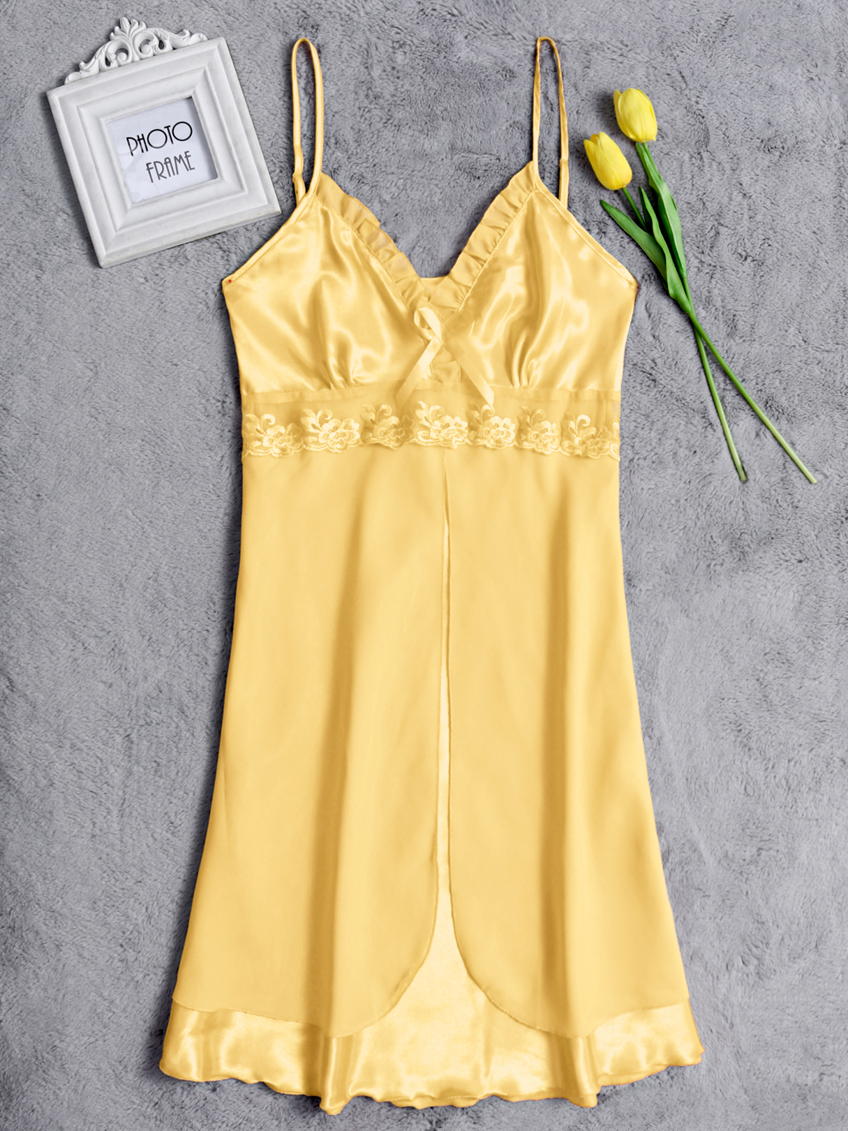 Yellow Sexy V-neck Lace Details Silk Material Pajamas Dress sexy light blue silk material lace decoration pajamas dress