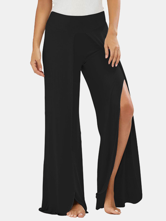 Active Wide Leg Pants With Splited Design in Black hollow out crop top with high waist wide leg pants
