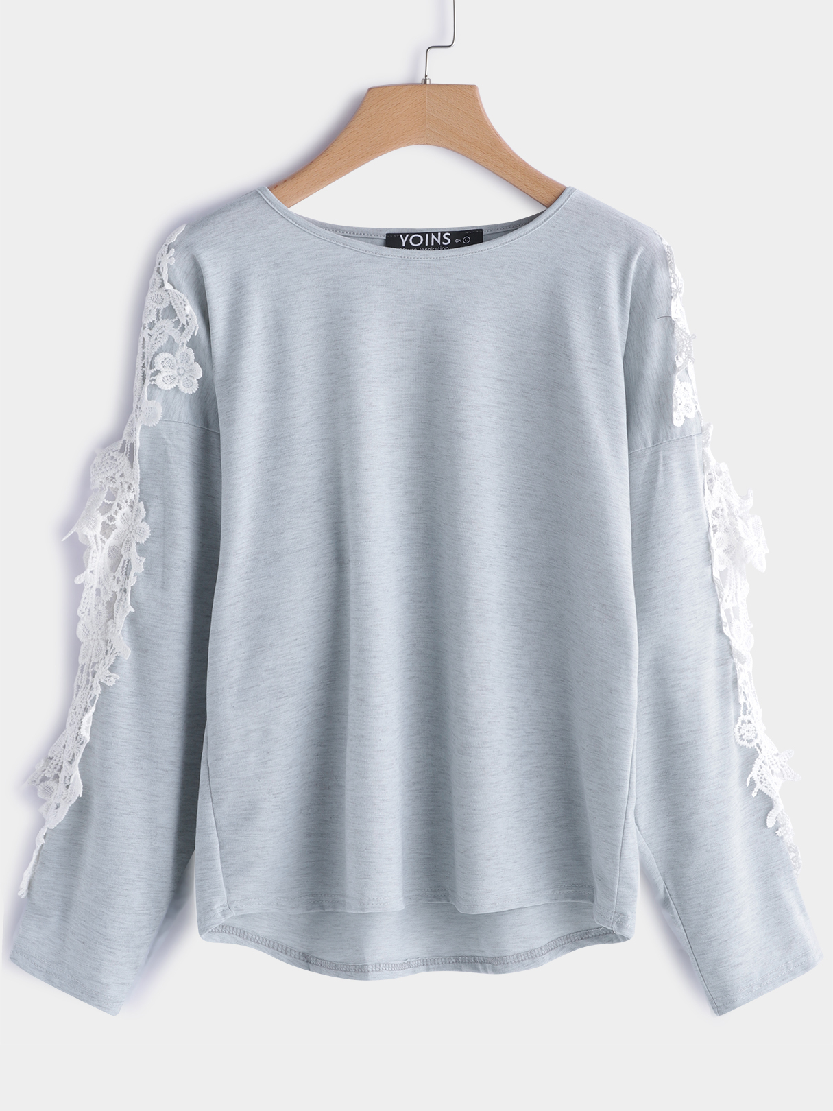 Grey Cut Out Plain Round Neck Lace Details Long Sleeves T-shirt grey pocket front round neck long sleeves t shirt