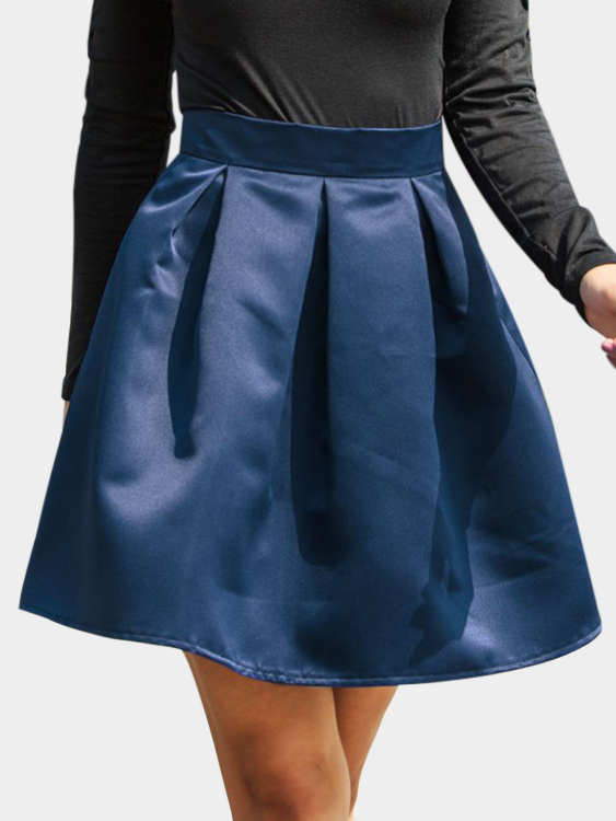 Navy Cute High-waisted Leather Mini Skirt цены