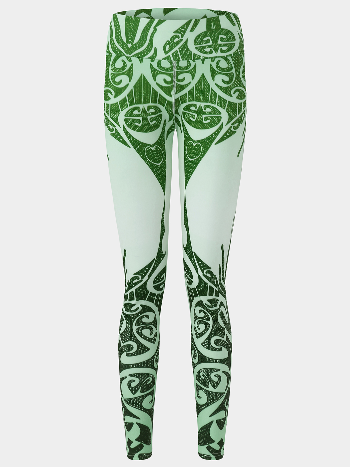 Active Random Floral Print High Waisted Yoga Leggings in Green