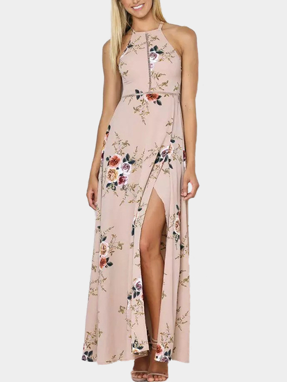 Khaki Randon Floral Print Side Splited Halter Dress with Lace-up Design