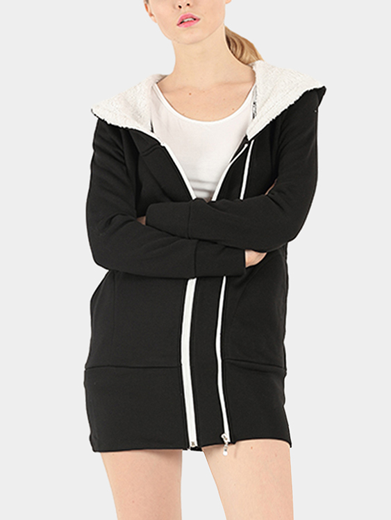 Black Causal Two Side Pockets Hoodie