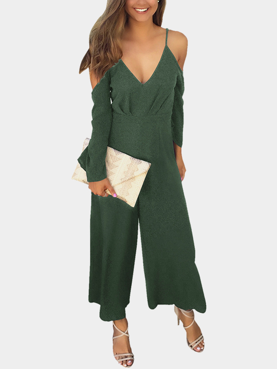 Army Green Deep V-neck Cold Shoulder Flared Sleeves High Waist Jumpsuit