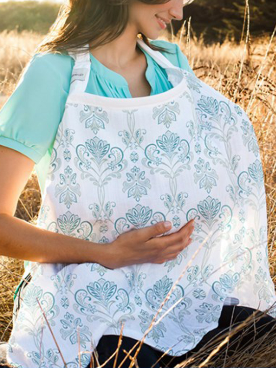 Adjustable Straps Random Floral Print Nursing Scarves in Blue