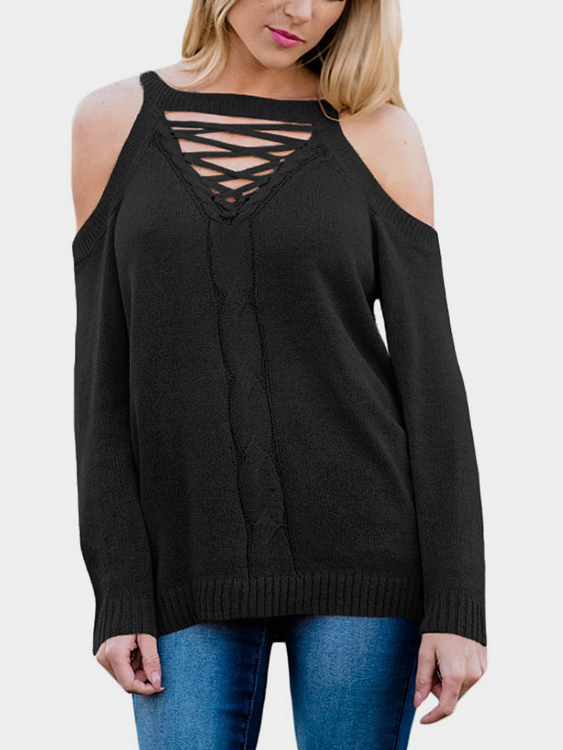 все цены на Black Knitting Lace-up Cold Shoulder Backless Top
