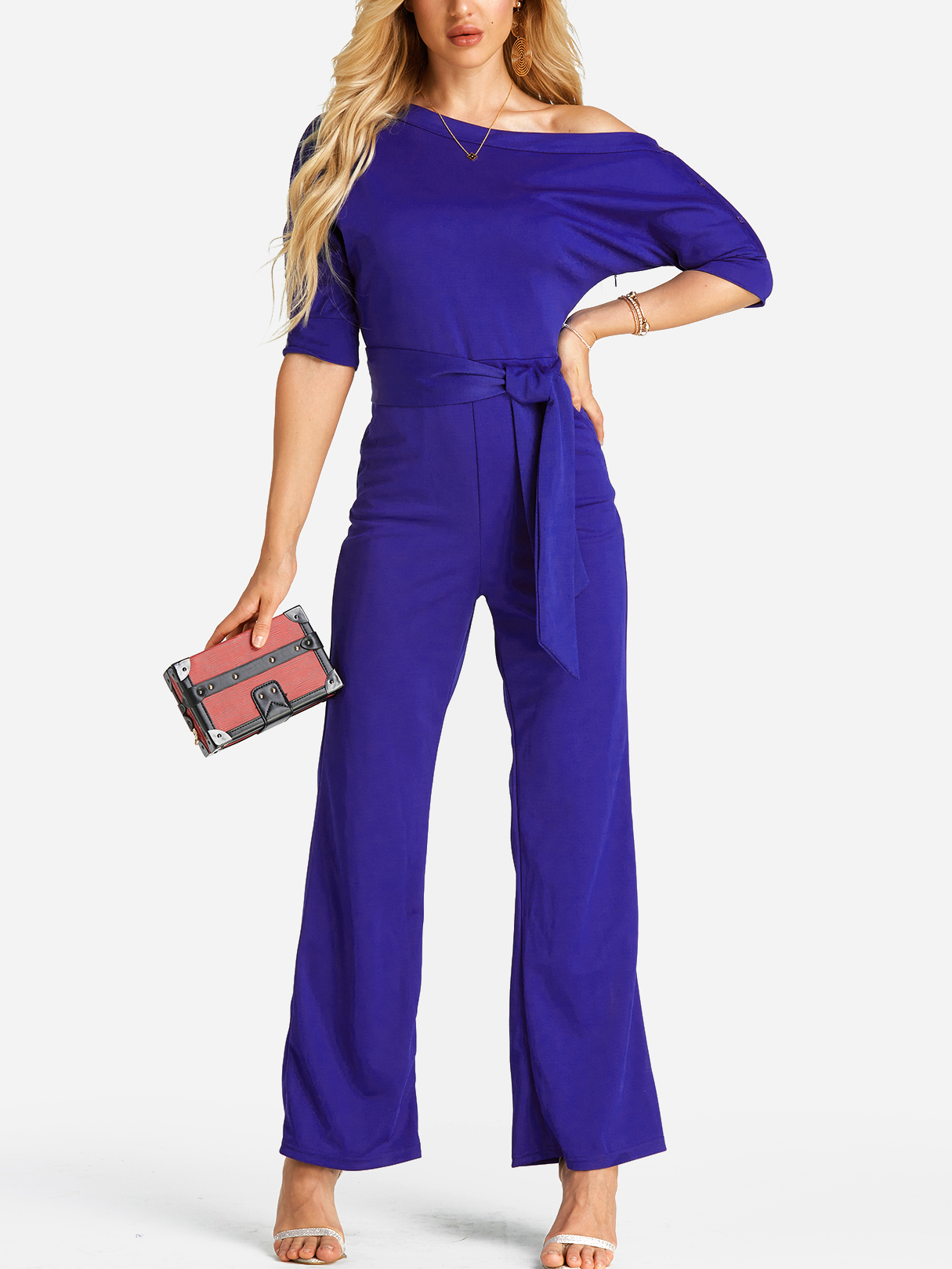 Blue Self-tie Design One Shoulder Jumpsuit burgundy one shoulder frill layered design jumpsuit