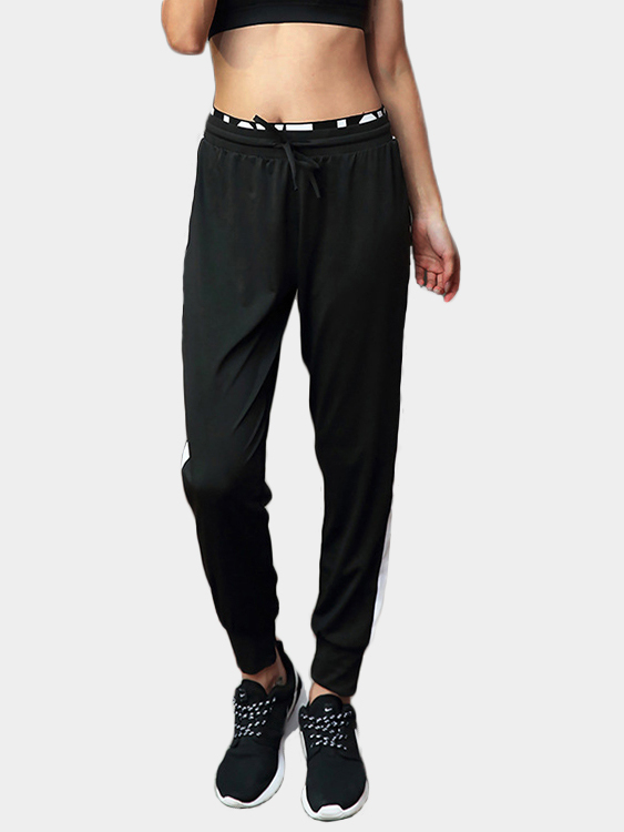 Active Loose High-waisted Linen Sports Pants in Black, Multi