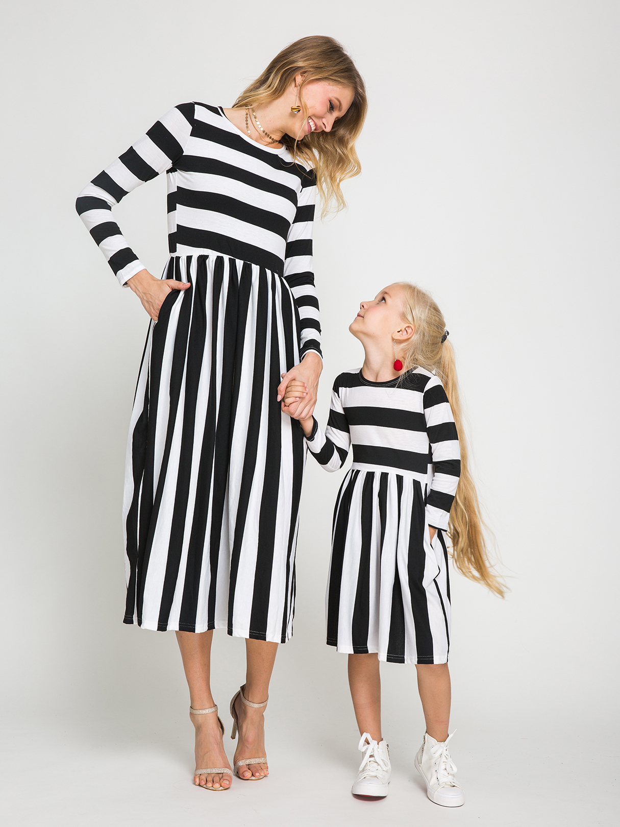 Mommy and Me Stripe Round Neck Long Sleeves Dress red mommy and me stripe matching midi dress