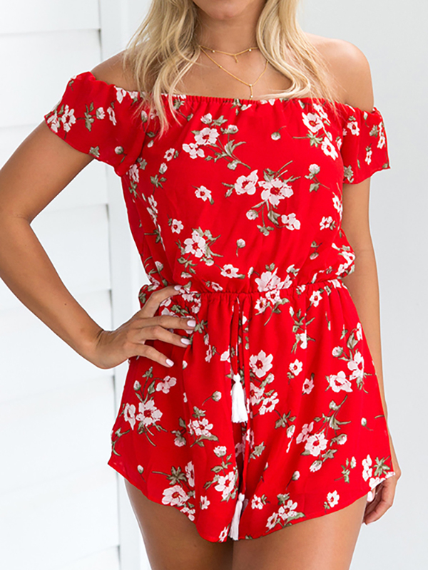 Red Off Shoulder Random Floral Print Playsuit With Short Sleeves off the shoulder stretch waistband playsuit in wine red