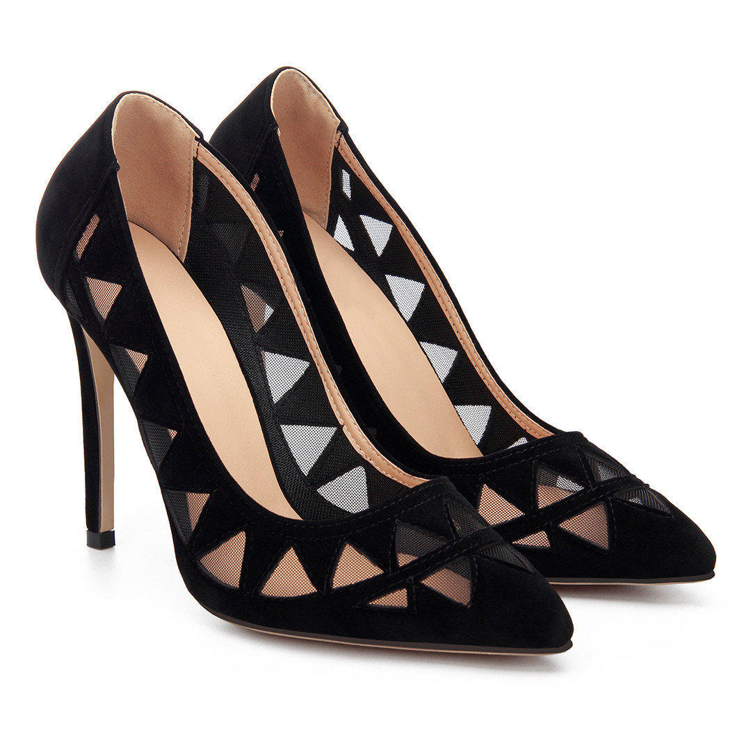 Black Triangle Hollow Out Suede High Heels