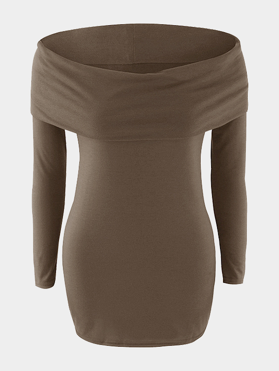 Coffee Off Shoulder Bodycon Mini Dress with Over-layer cute off the shoulder lemon dress for women