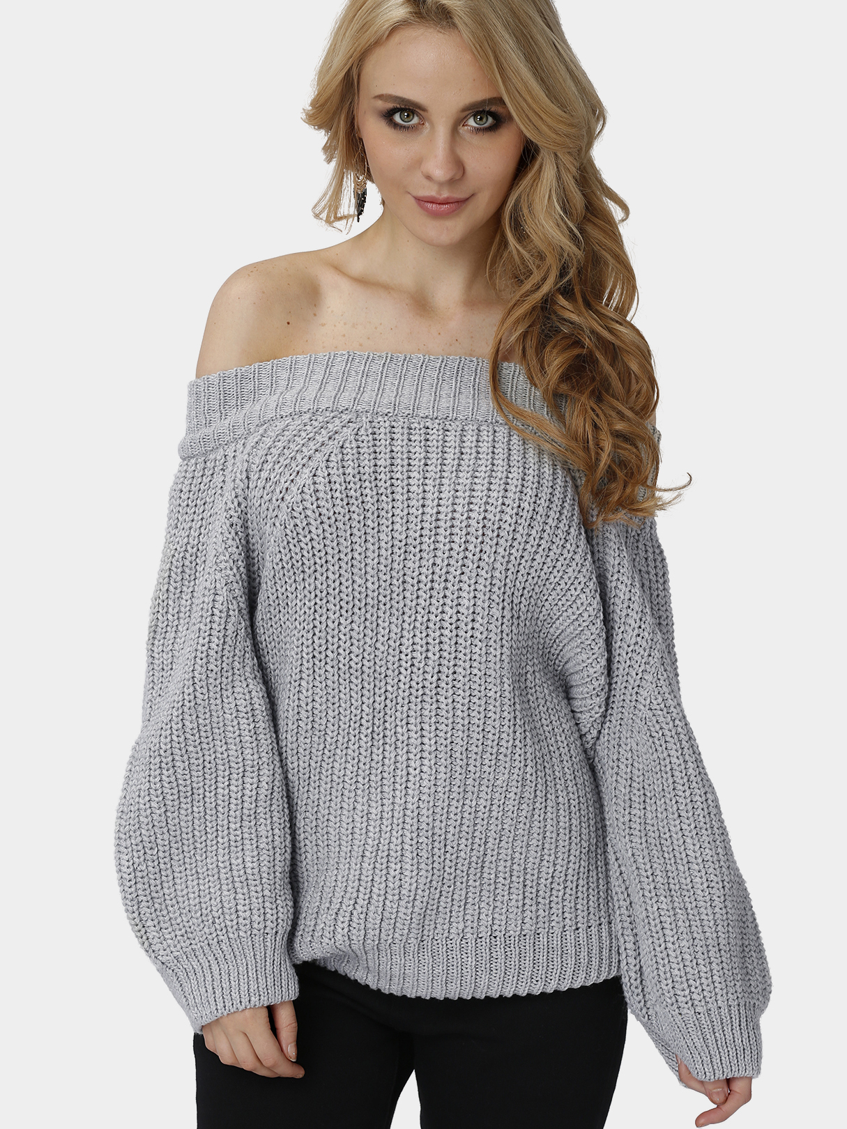 Grey Off Shoulder Pullover Knit Sweater grey off shoulder pullover knit sweater