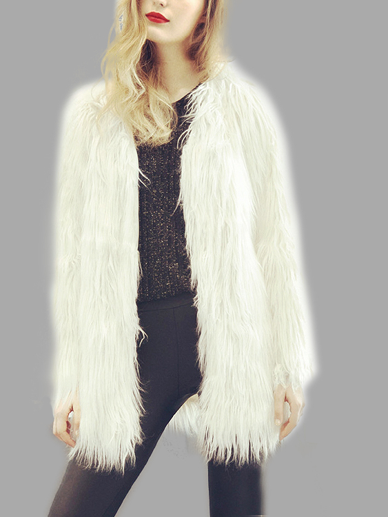 White Fashion Long Sleeves Artificial Fur Longline Coat fashion red longline coat with belt