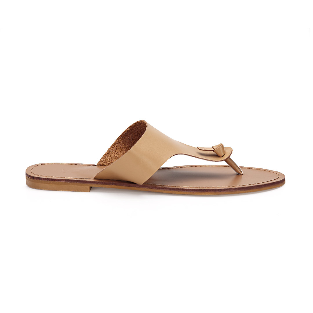 Apricot Leather Look Simple Style Toe Post Flat Slippers