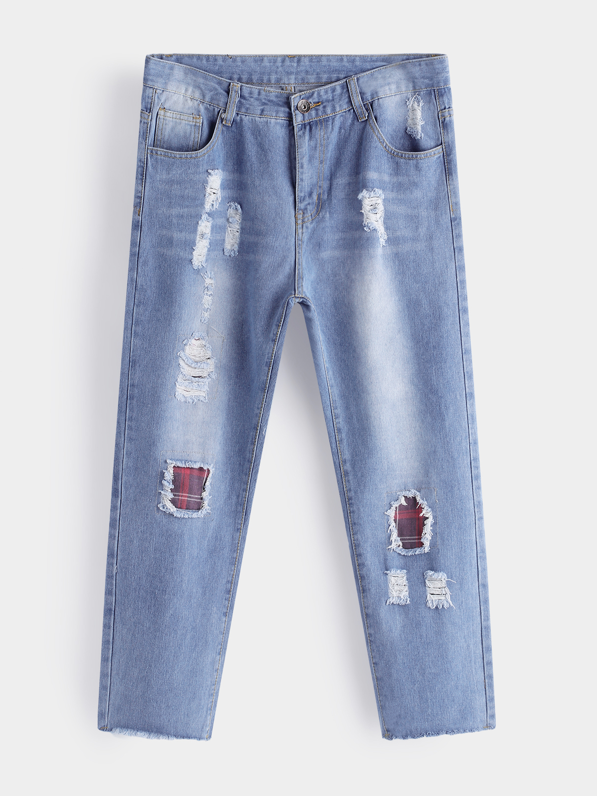 Light Blue Patch Ripped Acid Wash Middle Waist Men's Cropped Jeans SKU983851