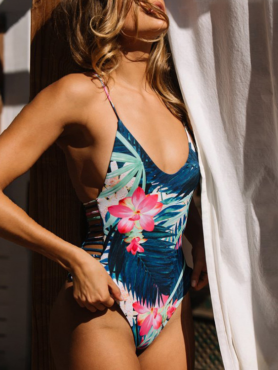 Sexy Random Floral Print Cut Out Design Swimwear жилет утепленный baon baon ba007ewwao51