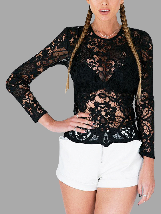 Sexy Black Hollow Out Lace Backless Blouse black sexy lace up design top