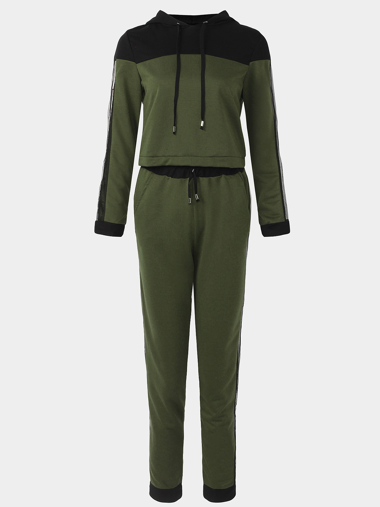 Active Net Yarn Hooded Design Tracksuit in Green active letter pattern hooded design cut out tracksuit in black