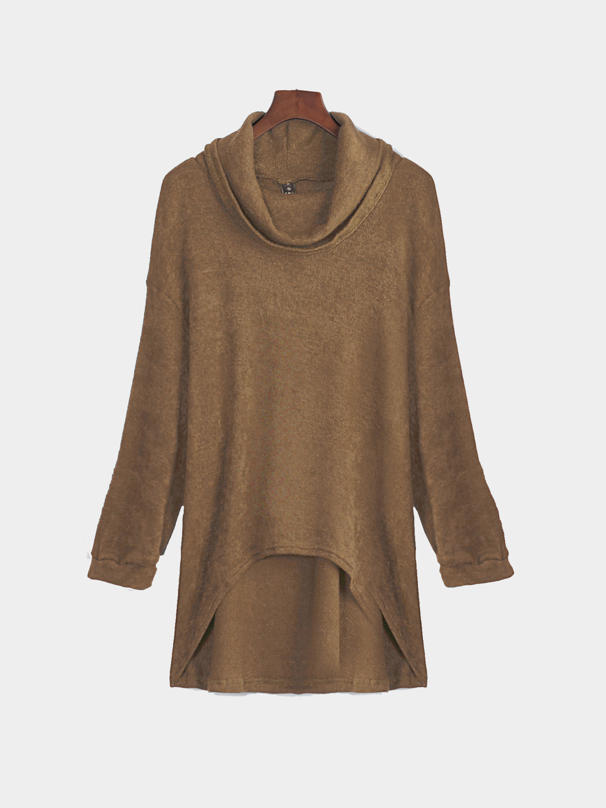 Brown Casual Knitted High Neck Curved Hem Sweater