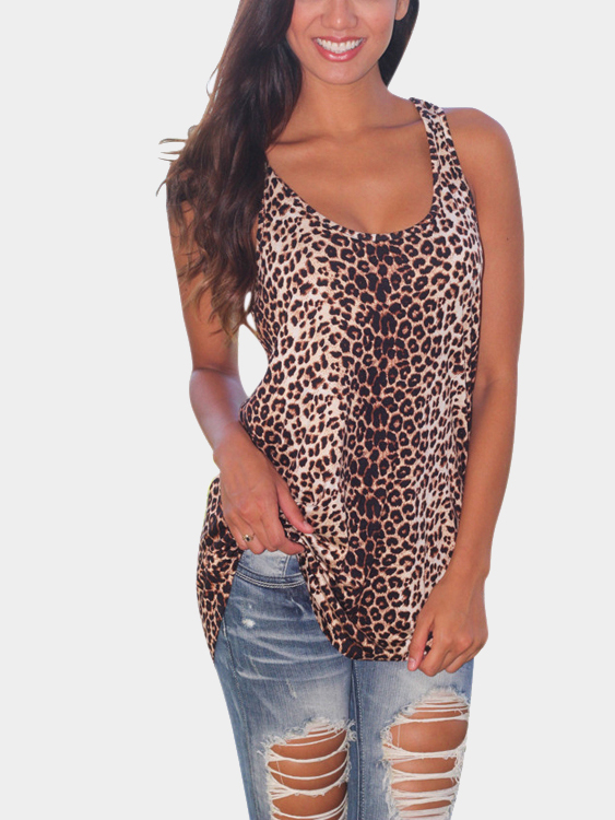 Leopard Print Sleeveless Vest with Curved Hem