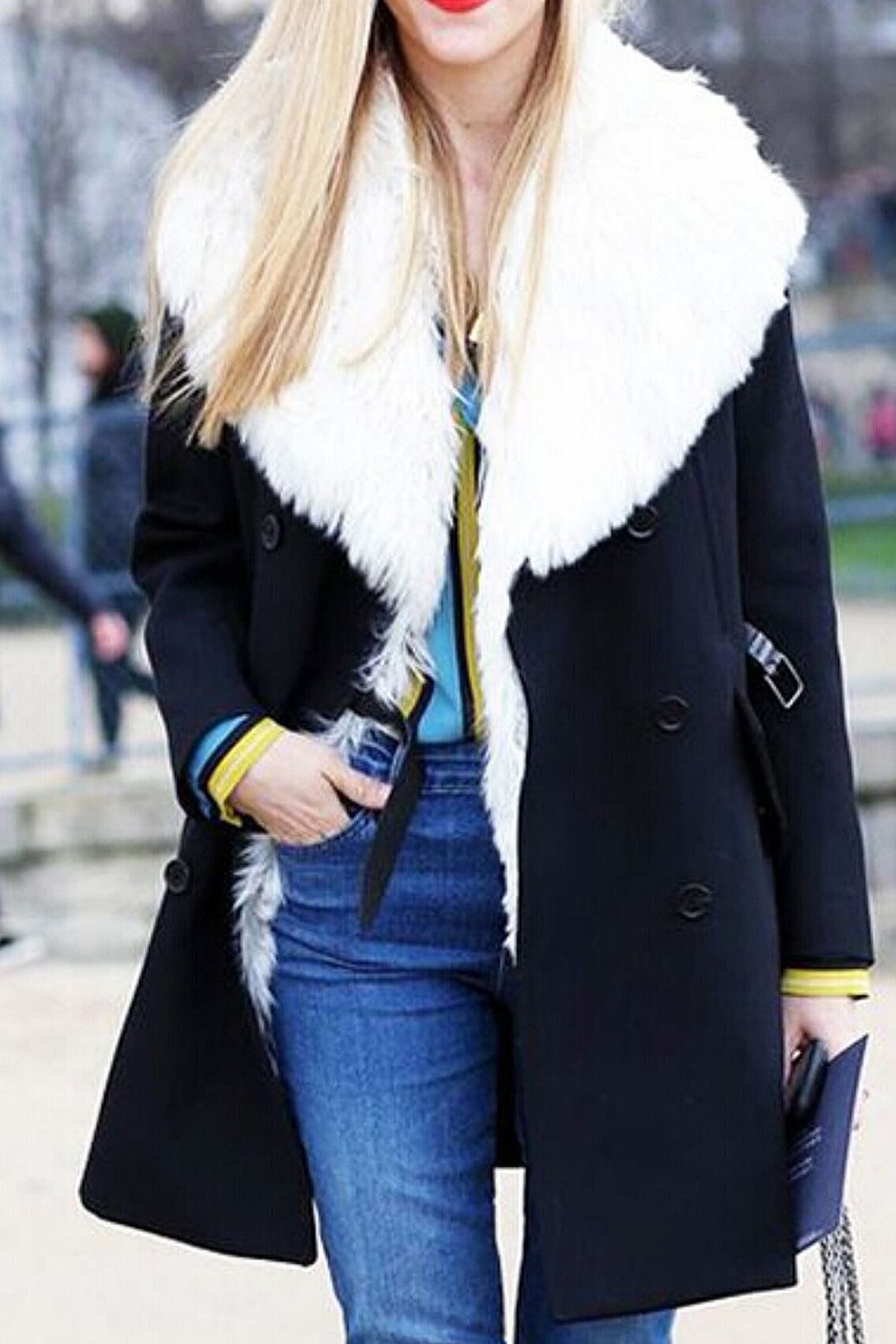 White Artificial Fur Lapel Collar Coat