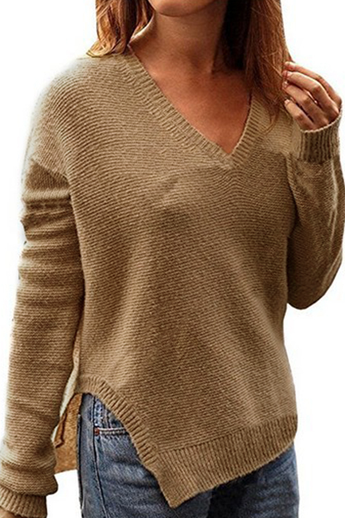 Classic Khaki V-neck Sweater