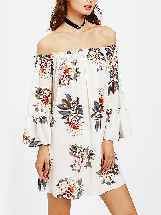 White Floral Print Off Shoulder Long Sleeves Mini Dress white casual floral print flared sleeves mini dress