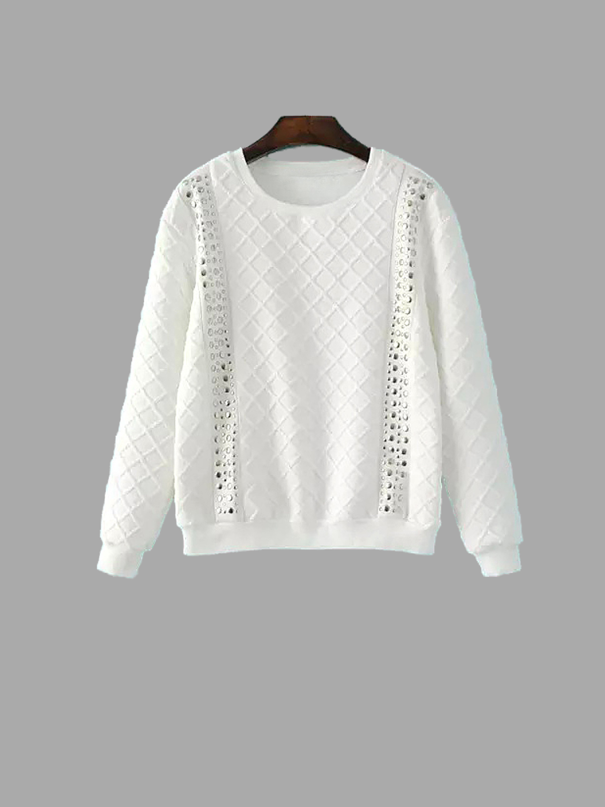 Quilted Studded Double Strap Argyle Sweatshirt