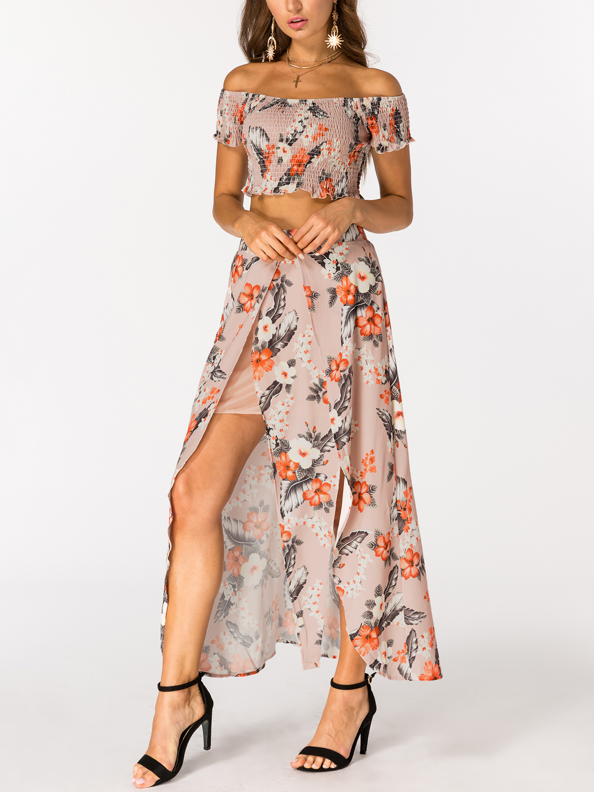 Random Floral Print Off the Shoulder High Slit Two Piece Outfits cute off the shoulder lemon dress for women