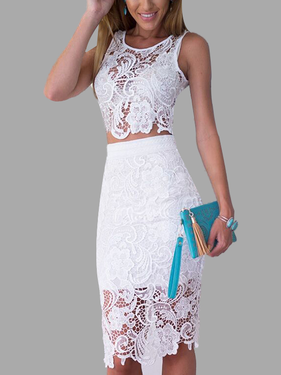 White Sexy Lace Details Crop Top & Midi Skirt Co-ord