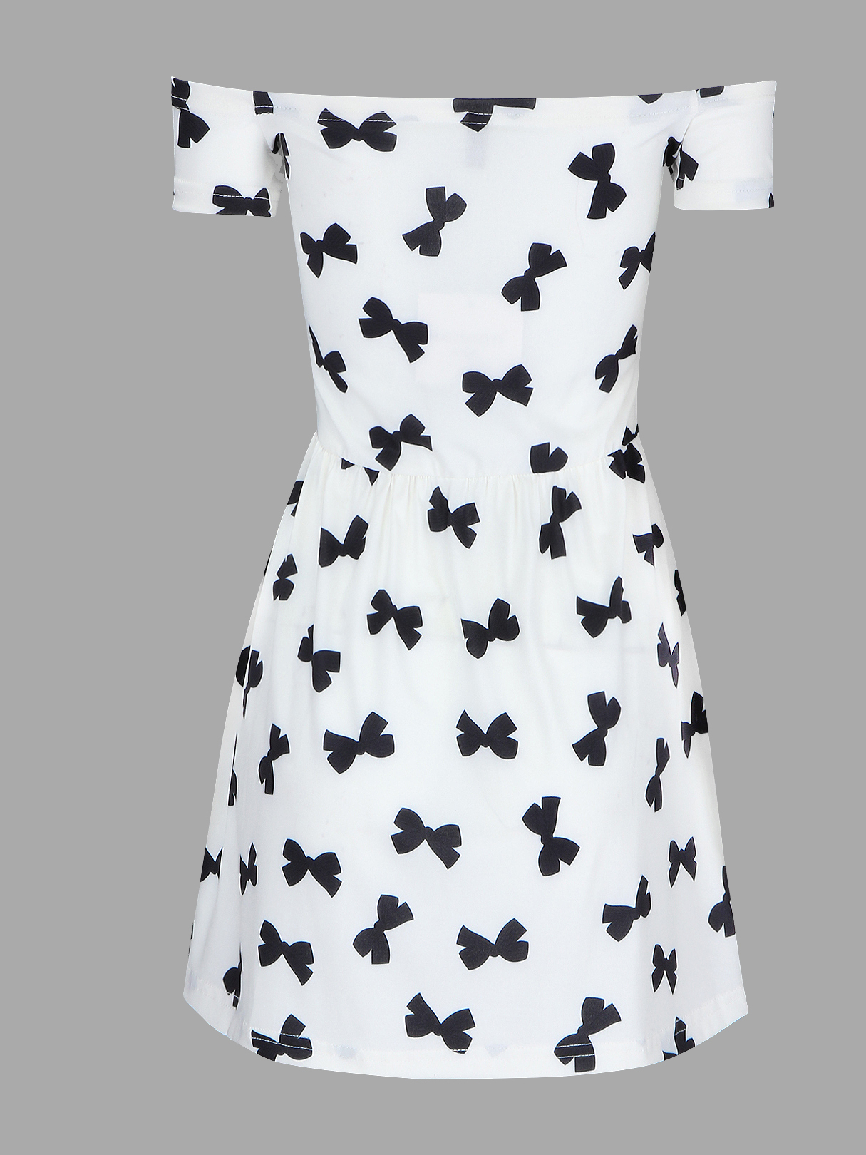See-through Off Shoulder Summer Bowknot Print Mini Dress