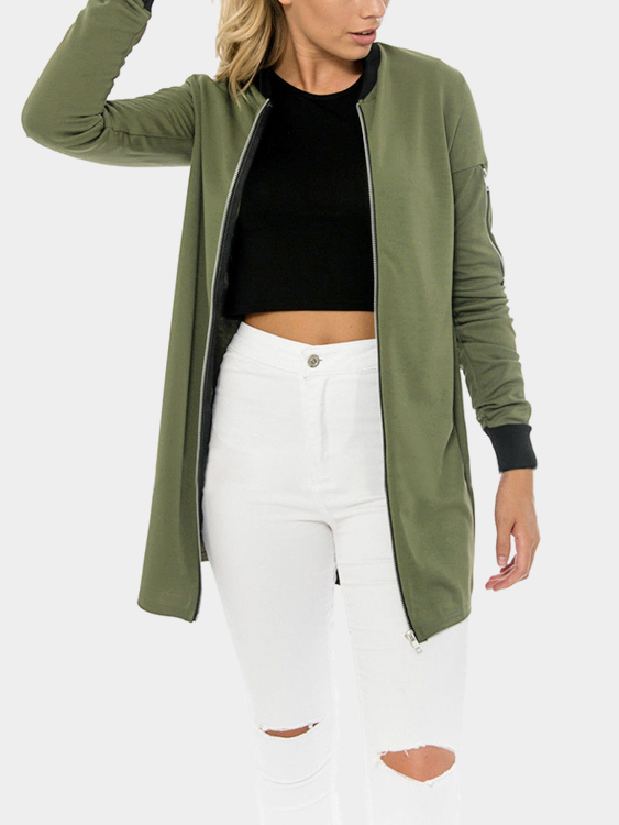 Army Green Fashion Stand Collar Jacket army green fashion long sleeved jacket
