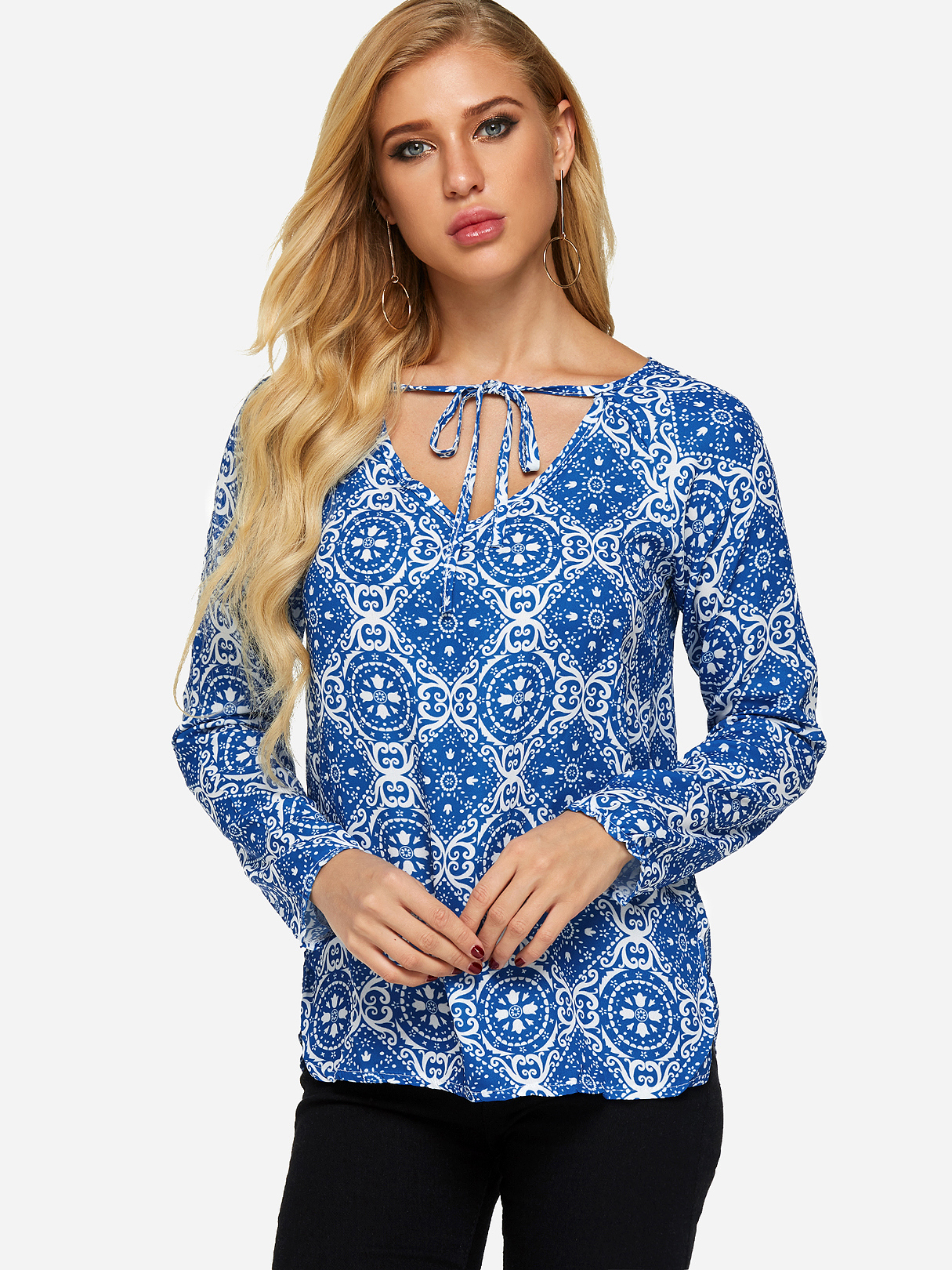 Blue Lace-up Design Tribal Print V-neck Long Sleeves T-shirt тепловая пушка ресанта тгп 50000