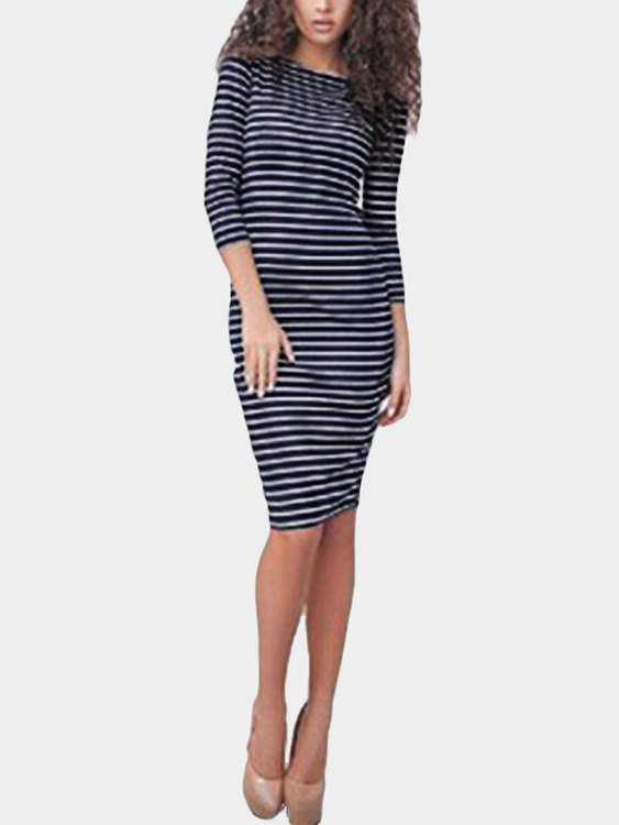 Sexy Royal Blue Stripe Pattern Bodycon Midi Dress contrast stripe full length dress page 3