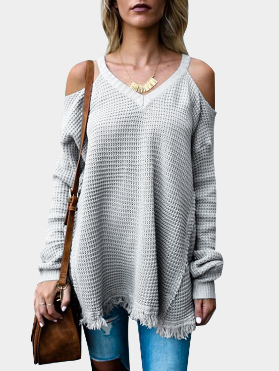 Grey V-neck Cold Shoulder Tassel Hem Sweaters grey cold shoulder long sleeves knitwear with side splited