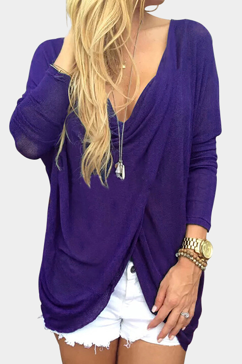Purple Cross Front Deep V-neck Asymmetrical Top deep v neck fit