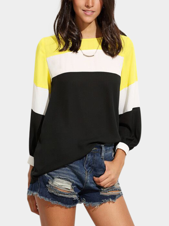 Yellow Fantasy Color Chiffon Top