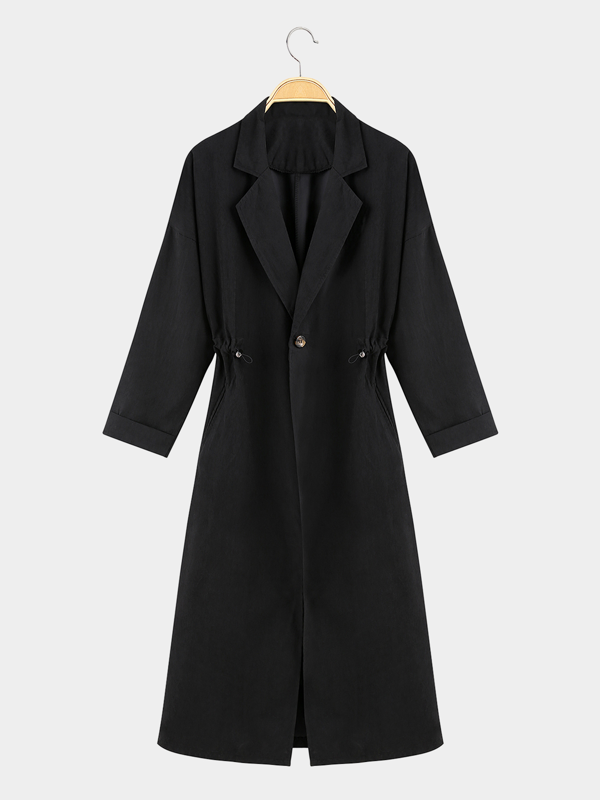 Black Lapel Collar Trench Coat With Drawstring waist