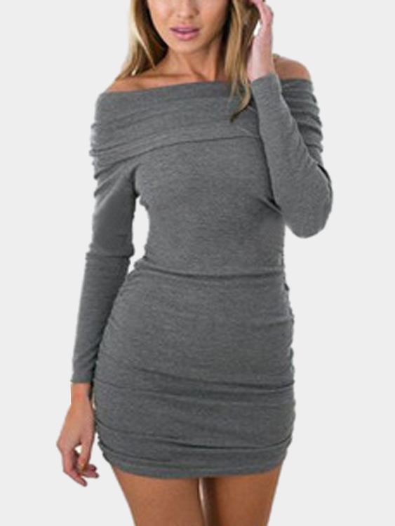 Grey Off Shoulder Bodycon Hem Dress with Long Sleeves
