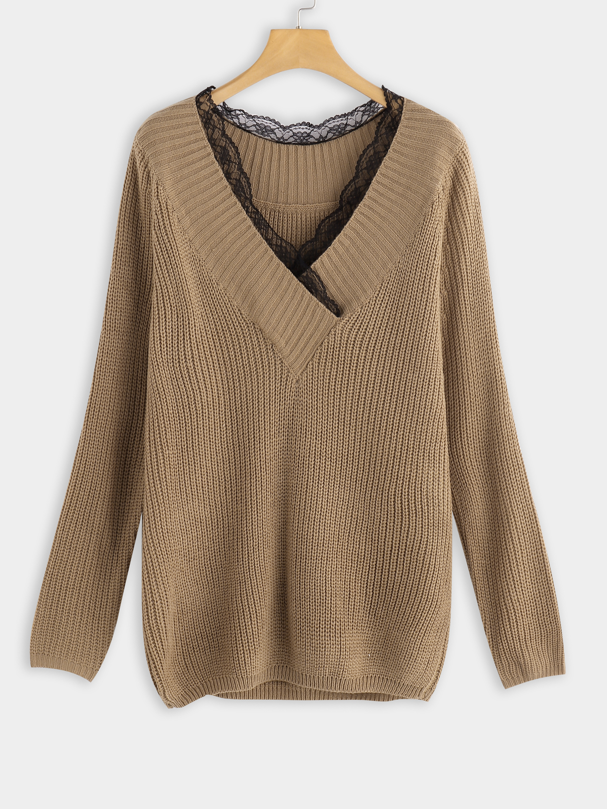 Camel Cable Knit Plain V-neck Long Sleeves Sweaters