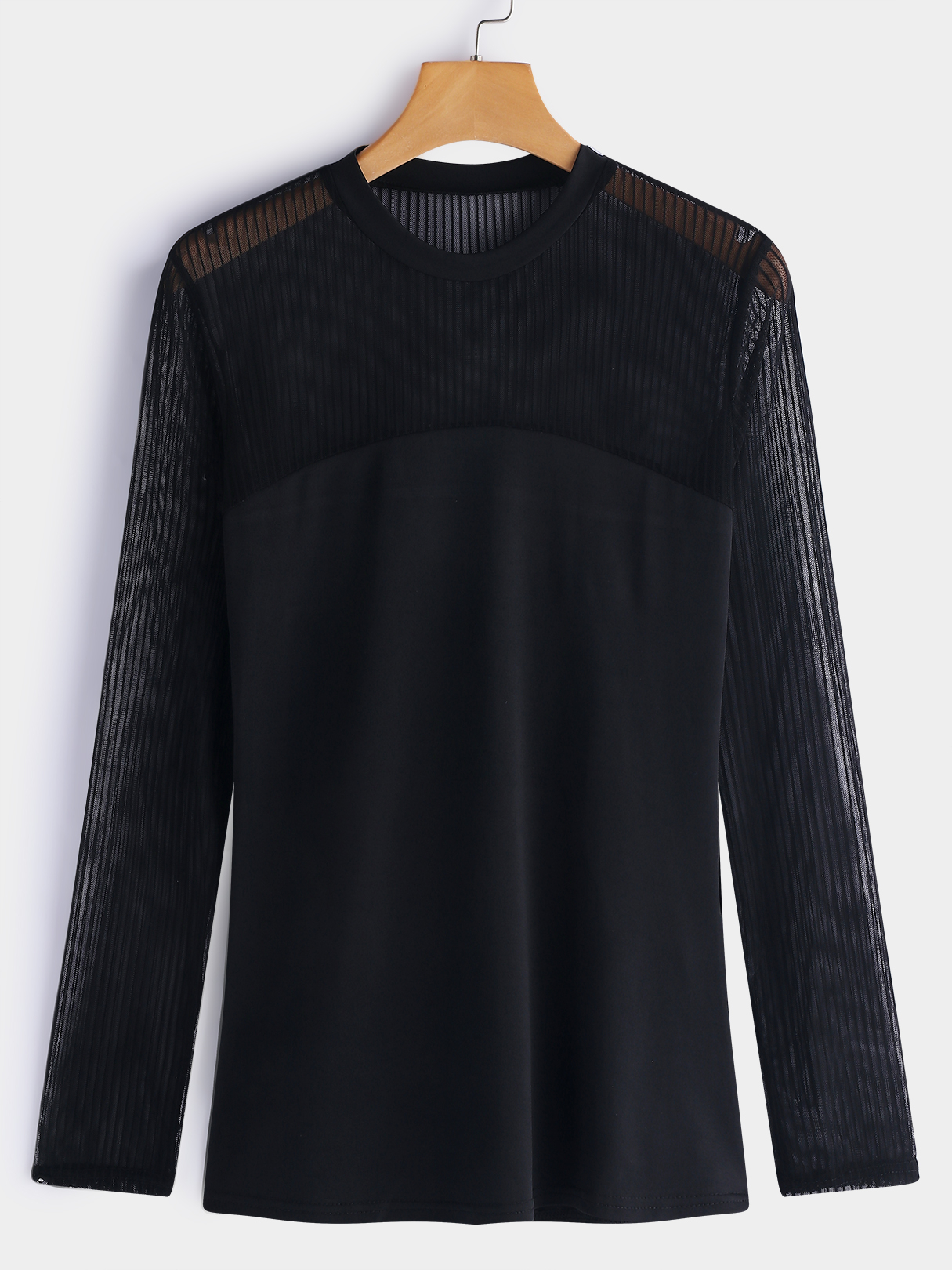 Black Lace Details Crew Neck Long Sleeves T-shirts black sexy crew neck rips details t shirt