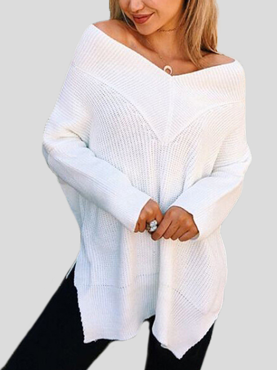White V-neck Splited Hem Loose Sweaters
