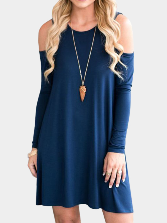 Dark Blue Side Pockets Cold Shoulder Long Sleeves Dresses grey side pockets cold shoulder long sleeves dresses