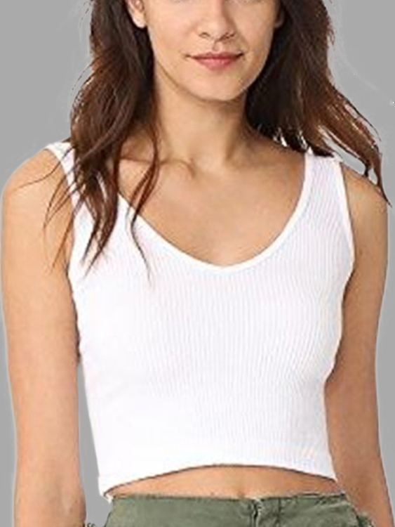 Active V-neck Cut Out Vests in White