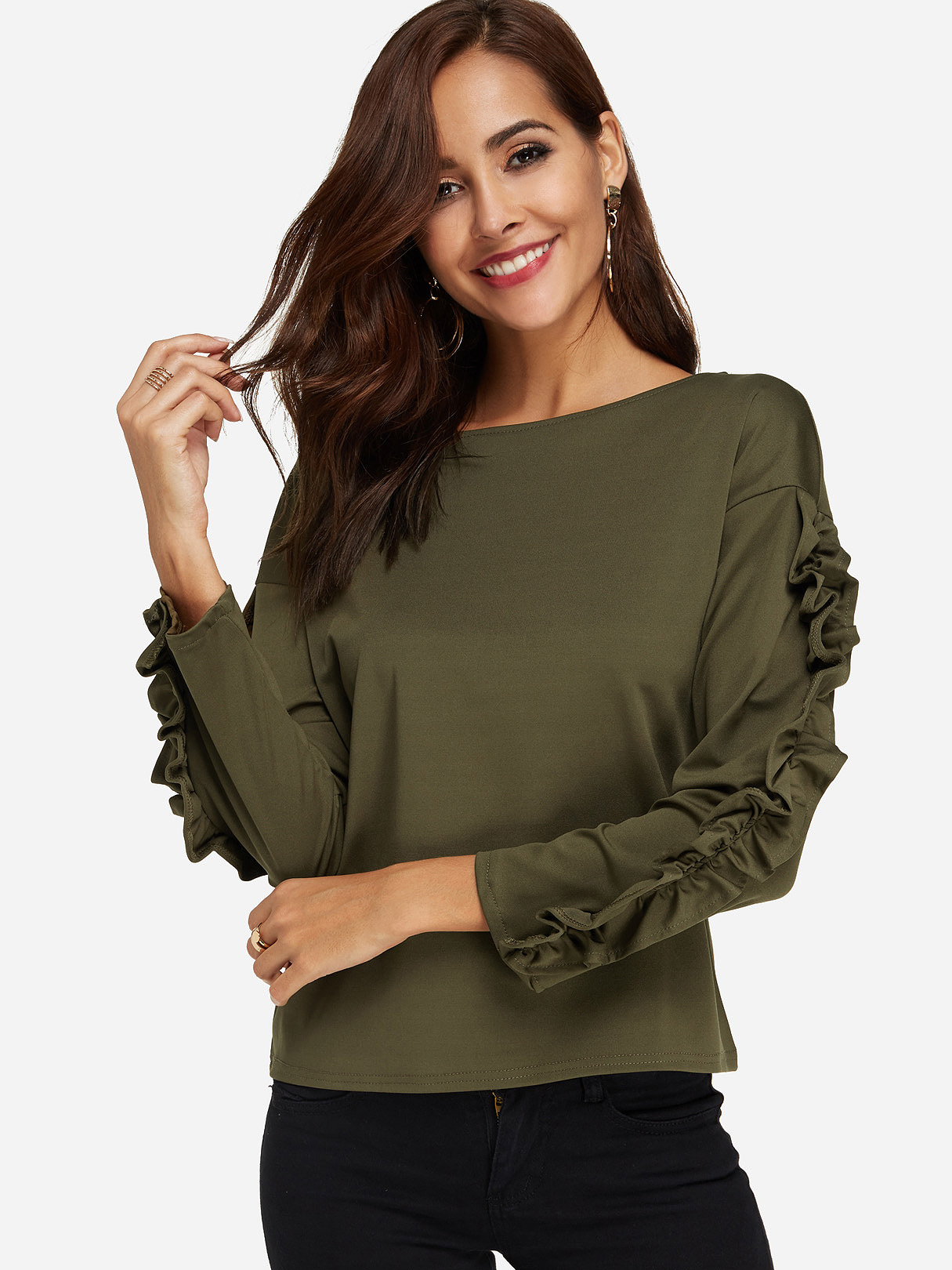 Army Green Flounced Details Round Neck Long Sleeves T-shirts army green lace details cuffs t shirt dresses