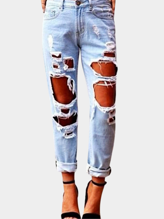 Light Blue Ripped Design Middle-waisted Jeans