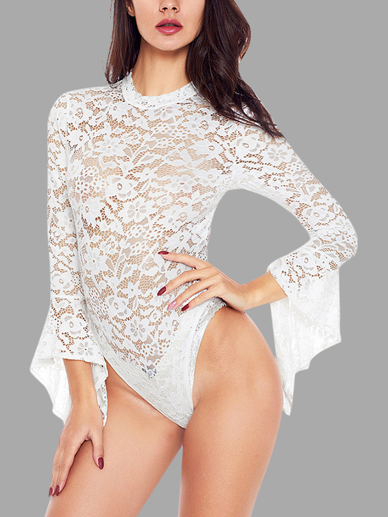 White Cut Out Crew Neck Long Sleeves Bodysuits цены